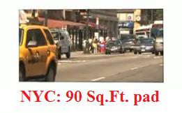 "image of city traffic in New York City and a link to a woman's 90  square foot ""pad"""