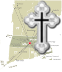 map of new england with red dot for worcester and with orthodox cross superimposed over it  and link to antiochian diocese of worcester and all of new england